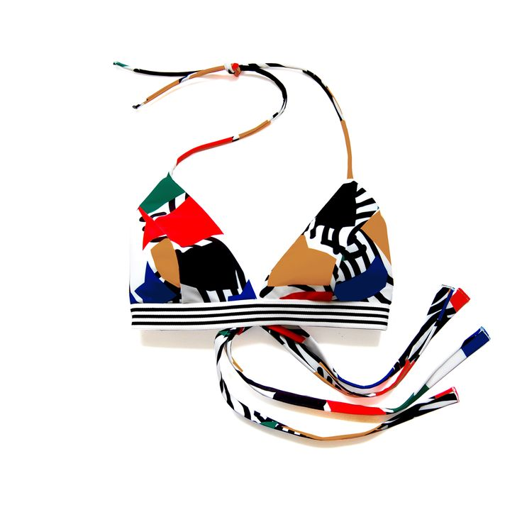 Al Top in Noon Print. Shop at www.bodymaps.pl #swimwear #beachwear #swimsuit #bathing #suit #bright #yellow #green #blue #red #unique #black #white #contrast #top #stripes #transparent #detail #sporty #vivid #big #print #youngdesigner #newbrand #bodymaps