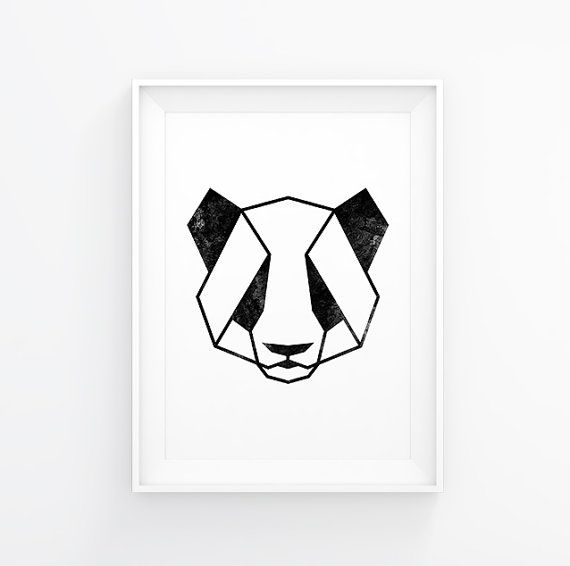 Panda Art, Panda Print, Geometric Animals, Panda Decal, Panda Poster, Panda…