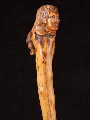 a folk art Robert Burns motif brier wood one piece walking cane ref: 15378   Scottish  date circa: 1880