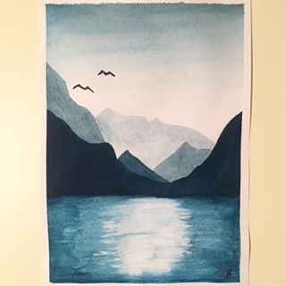 The finished result. 😊 I'm very happy with it! What do you think?    #watercolor #waterpaint #waterpainting #watercoloring #scenery #landscape #mountains #lake #view