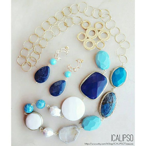 Guarda questo articolo nel mio negozio Etsy https://www.etsy.com/it/listing/526709821/set-di-gioielli-blu-per-moglie-turchese