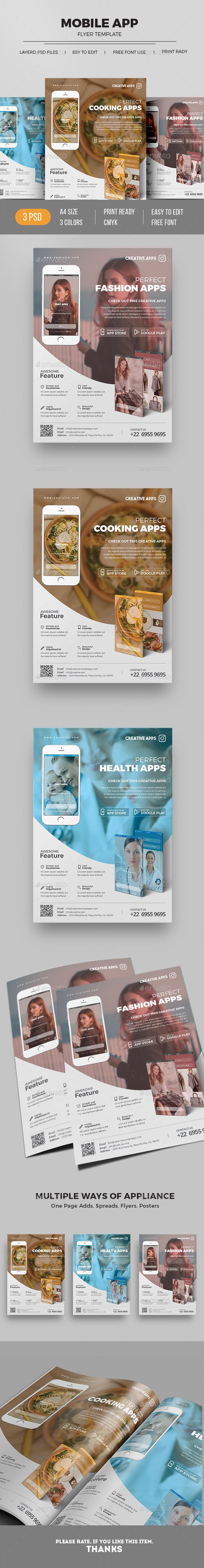 Mobile App Flyer — Photoshop PSD #mobile application flyer #business • Download ➝ https://graphicriver.net/item/mobile-app-flyer/19534728?ref=pxcr