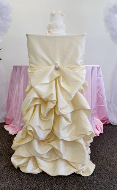 Champagne Wedding Chair Covers Ruffled by SanDiegoPinkWedding