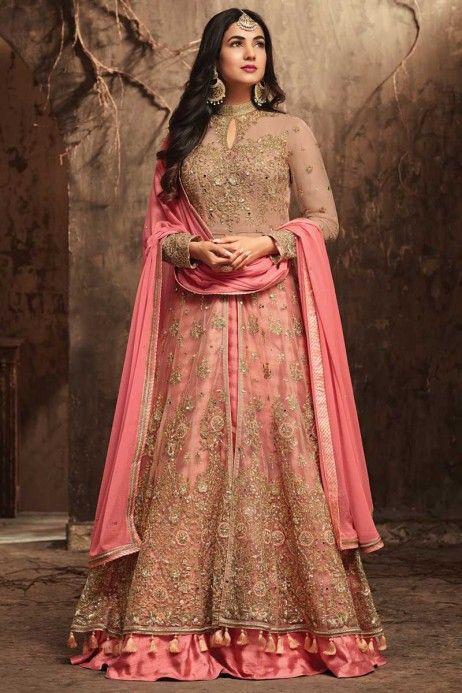 a24b588457 #SonalChauhan #weddingwear #fancy #anarkali at #Hakoba   #Bollywood #Fashion    Anarkali suits, Designer salwar suits, Long choli lehenga