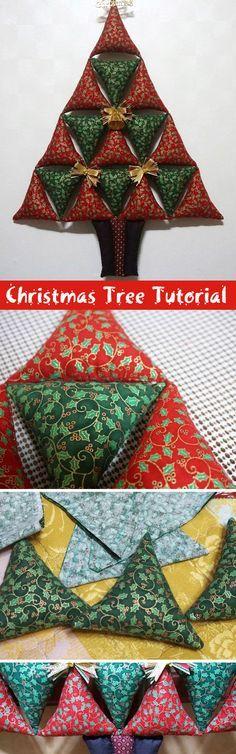 Christmas Tree Soft Toy panel. DIY step-by-step tutorial. Елочка из треугольников к Рождеству. http://www.handmadiya.com/2015/09/christmas-tree-soft-toy-panel-diy-step.html