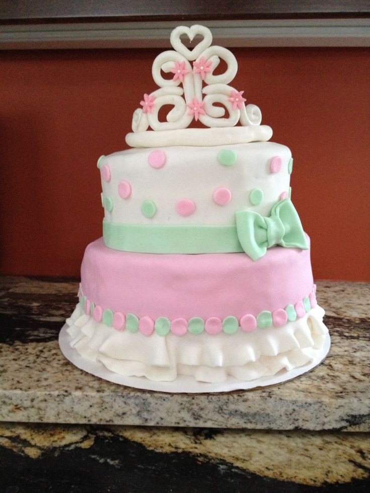 baby girl shower cake tutu princess tiara pink green white