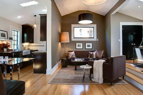White oak or maple floors espresso cabinets black - Black brown and white living room ...