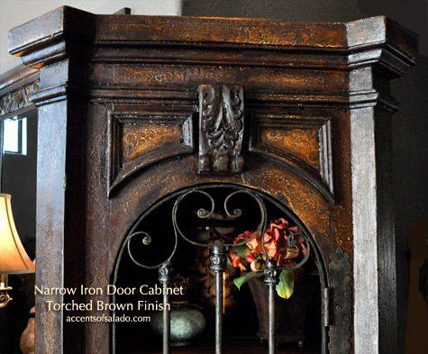 Pintado Viejo Mundo Muebles de Comedor Alto Puerta de Hierro Gabinete Mano Muebles
