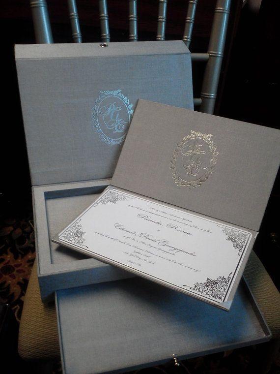 DEPOSIT for Silver engraved mirror box INVITATION SUITE w/satin fabric folio custom foil monogram Insert drawer & 205 best Boxed Invitations images on Pinterest | Box invitations ... Aboutintivar.Com