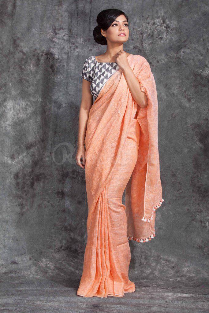 Peach Organic Linen Saree With Pompom-LNT061650346