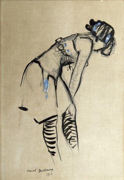 Marcel Duchamp (1887-1968), Jeune Femme au corset à ruban bleu, 1912, dessin à l'encre de Chine et mine de plomb, rehauts de gouache, 29,5 x 20,5 cm. 56 400 € frais compris. Mardi 1er décembre, Deuil-la-Barre-Montmorency. Hôtel des ventes de la Vallée-de-Montmorency SVV. Cabinet Perazzone - Brun.