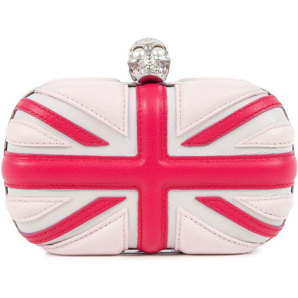 Alexander McQueen Brittania Leather Box Clutch (£995) ❤ liked on Polyvore featuring bags, handbags, clutches, bolsas, accessories, purses, pink, leather hand bags, skull purse and pink clutches