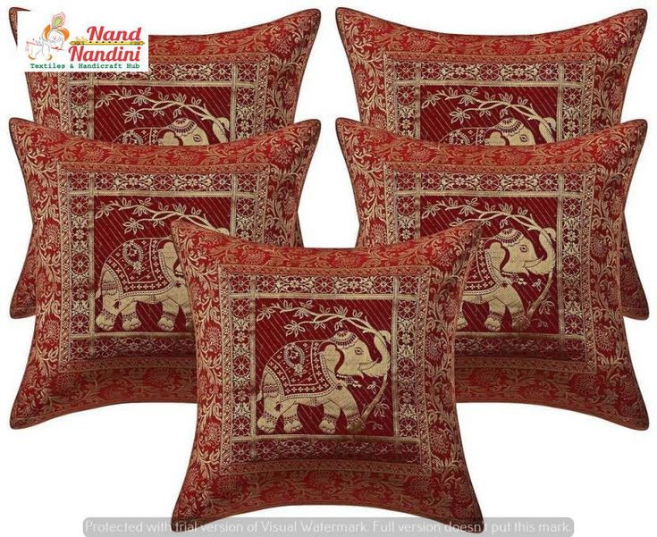 Indian Elephant Silk Brocade Pillow Cushion Cover Throw Handmade Indian Decor  #Unbranded #AntiqueStyle