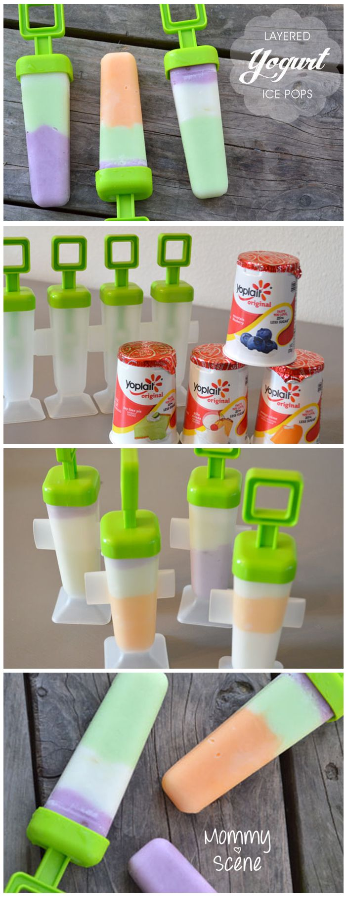 Yogurt popsicles are easy to make and fairly healthy too! All you need is several flavors of yogurt to layer inside a popsicle mold and freeze.