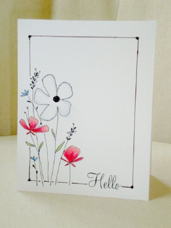 Items similar to Floral Hello Greeting Card on Etsy