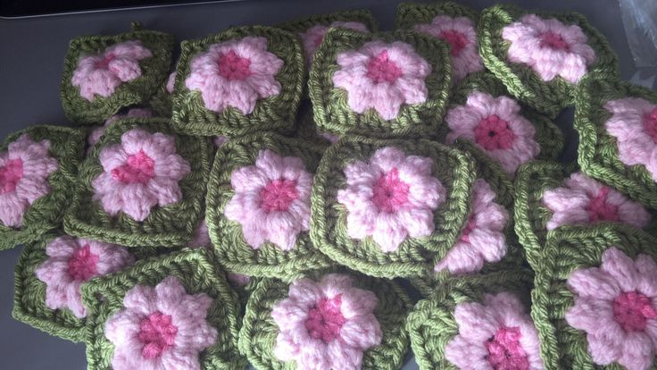 A personal favourite from my Etsy shop https://www.etsy.com/uk/listing/533334057/vintage-green-and-pink-granny-squares