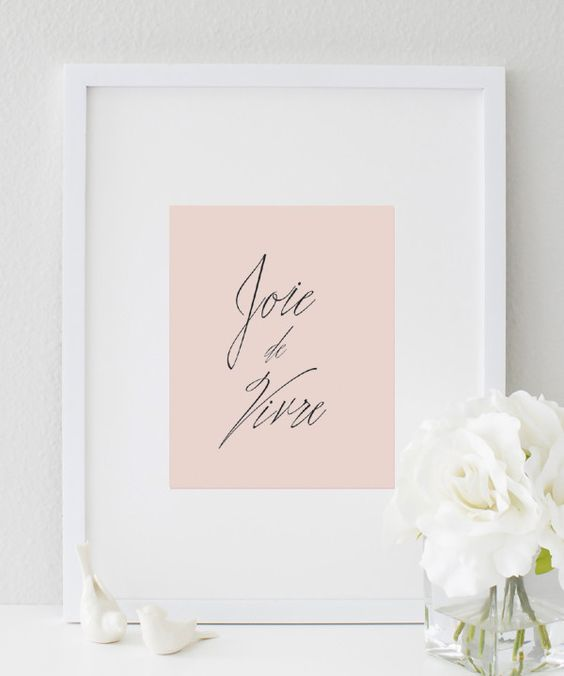 This Joie de vivre glam French typography wall print is perfect to add to your office or home decor. Joie de vivre is a french saying which translated into English is 'joy of life'. ★ PRODUCT SKU # DB