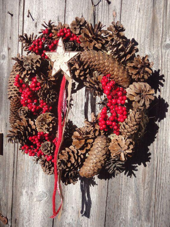 Ghirlanda di Natale benvenuto con pigne bacche di RomantikPony