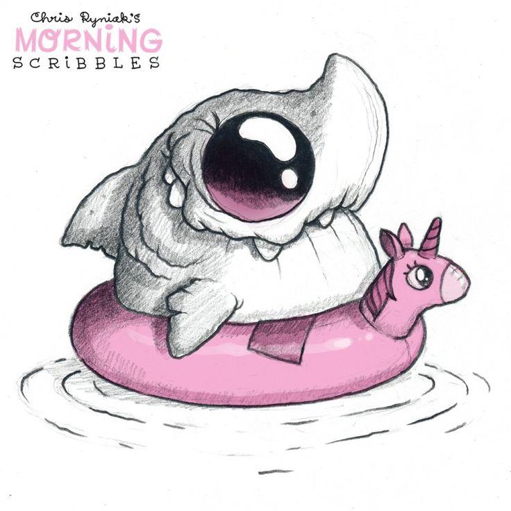 Requin dans une bouée licorne