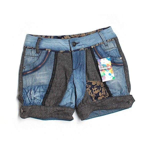Pre-owned Desigual Denim Shorts ($29) ❤ liked on Polyvore featuring shorts, blue shorts, denim short shorts, grey jean shorts, blue jean short shorts and blue jean shorts