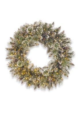 National Tree Company 30-In. Glittery Bristle Pine Wreath With Infinity Lights - Green - One Size