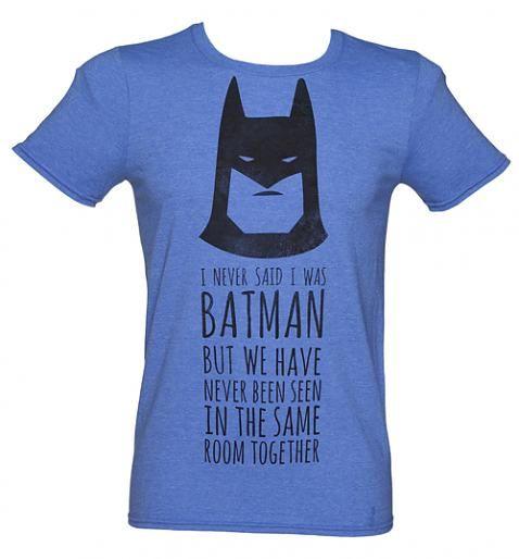 Men's Blue Marl DC Comics Batman Slogan T-Shirt xoxo