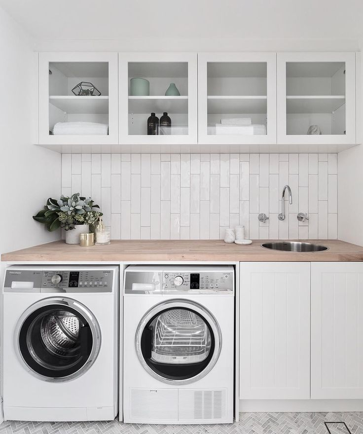 "THREE BIRDS RENOVATIONS on Instagram: ""LAUNDRIES  One of my favourite spaces to design... This one was tiny, and instead of having a normal sized door, we installed a double…"""