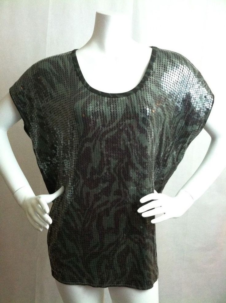 MICHAEL KORS  Sequined Animal Print Short Sleeve Top Size Large #MichaelKors #Blouse #Casual
