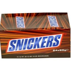 24 Pcs. Snickers  This Pack Contains 24 Snickers chocolates with soft nougat and caramel center with fresh roasted peanuts.