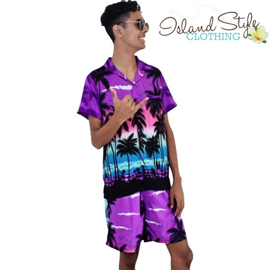 Mens Cabana Set Hawaiian Shirt & Shorts - Boardshorts - Purple Palms pattern. Wicked set for beach party, schoolies, Fancy Dress, luau, rugby, cricket, music fest. Looks esp good in a group. Cruisewear specialists.