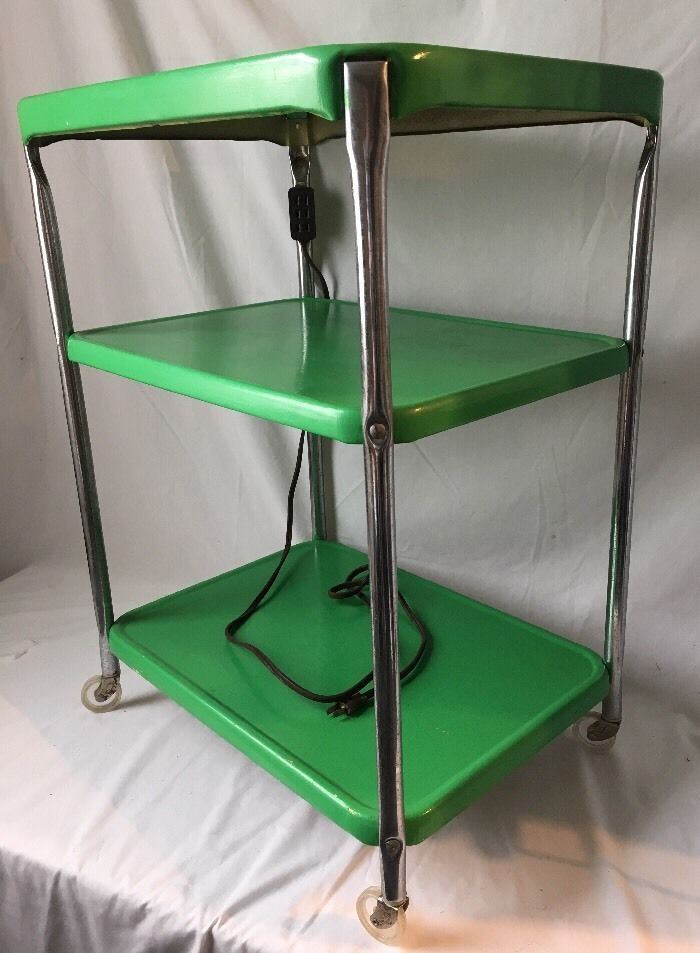 Vintage 3 Tier Kitchen Utility Cart Rolling Green Metal w Electrical Outlet | Collectibles, Vintage, Retro, Mid-Century, 1950s | eBay!