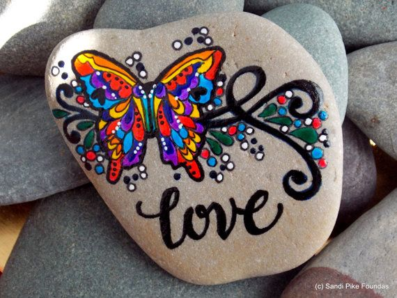 love is beautiful / painted rocks / painted by LoveFromCapeCod