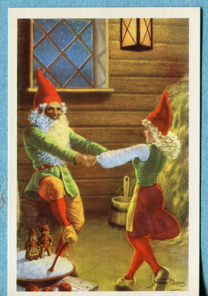 X9432   Postcard Swedish Miniature  Man and Woman  Elves Dancing in Barn