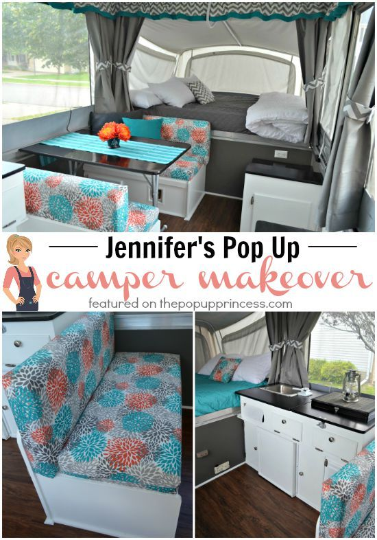 With a little money and some hard work, Jennifer gave her tired popup camper a fun new look. You won't believe what a difference paint and fabric can make!