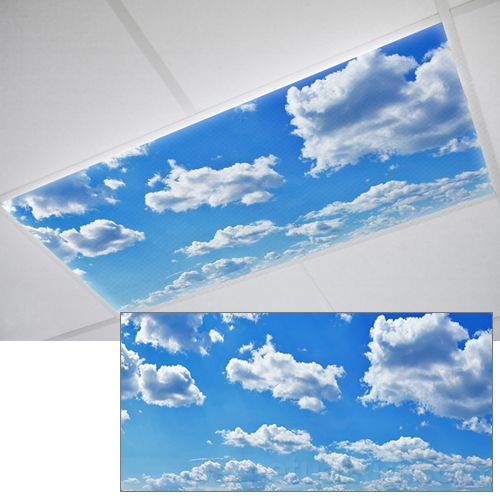 clouds light cover fluorescent light covers cloud lights office decor. Black Bedroom Furniture Sets. Home Design Ideas