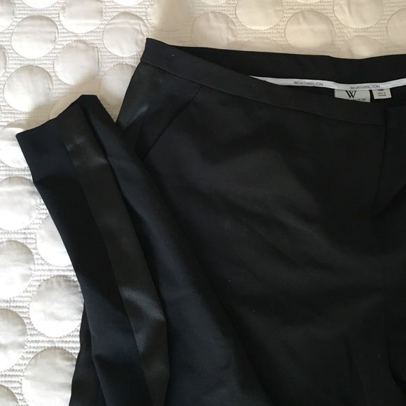Black tuxedo stripe pants plus size 16 Worthington woman. Size 16w. Black dressy tuxedo pants features black satin stripe on each side. Flat front straight leg with side pockets. Worn once Worthington Pants Straight Leg