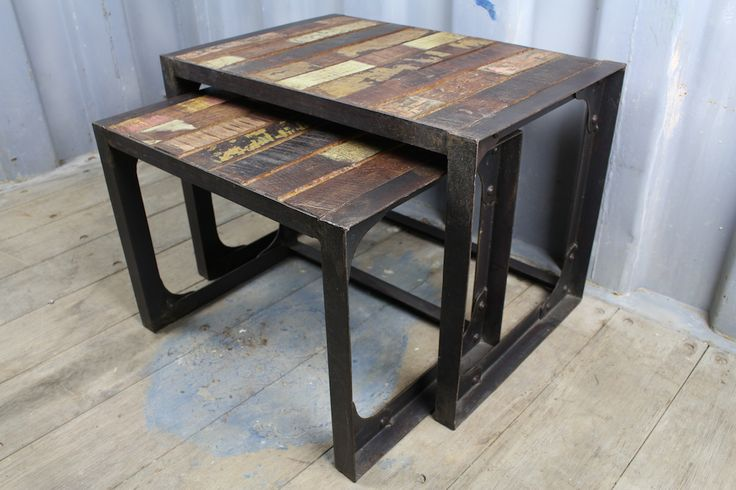 Industrial Nest of 2 Tables with Reclaimed Wooden Tops
