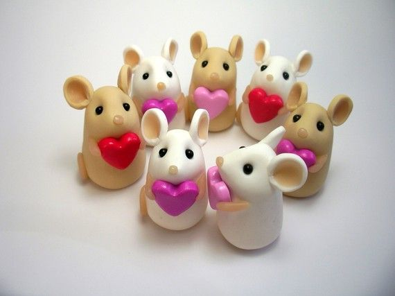 Items similar to Tiny Valentine Love Mouse Ornament Sculpture Cake Topper Sold Individually on Etsy