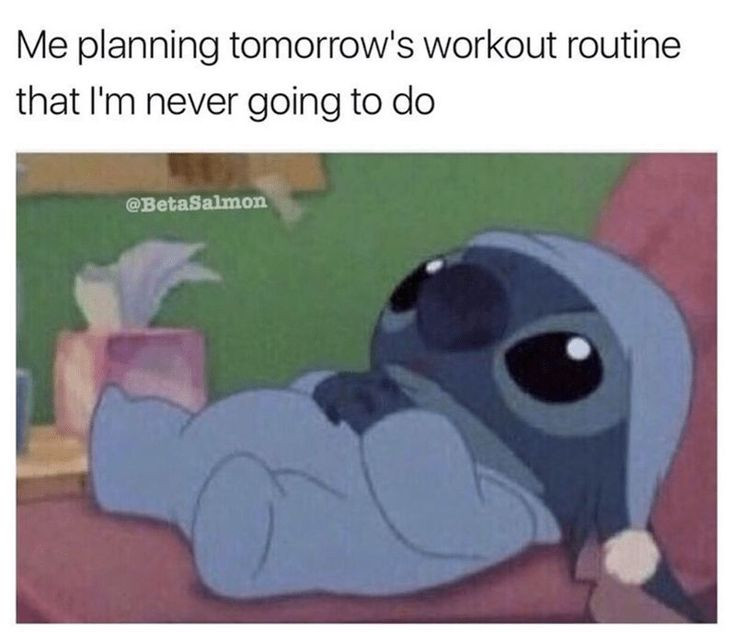Me planning tomorrow's workout routine that I'm never going to do. - Stitch