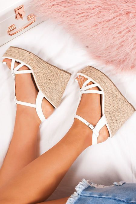 d48a1a8dbe23 REMI White T-Bar Strap Espadrille Wedges in 2019