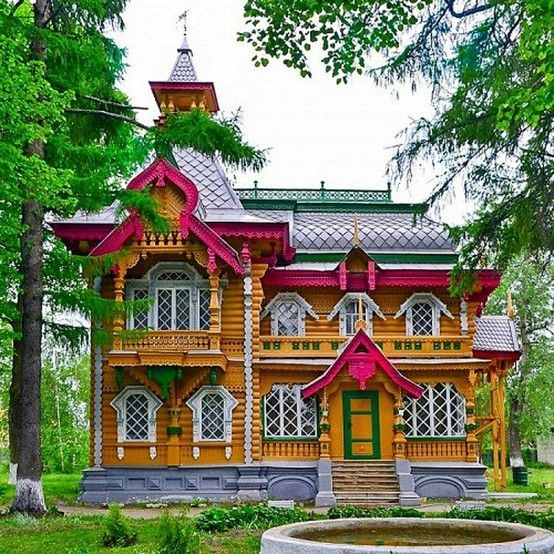 Russian wooden house,  we love this art.