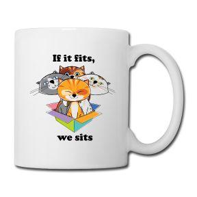 If it fits, we sits Drinking Mug, printed both sides, $23.90 #cute #cats #cutecats #mug #geek #internet #meme