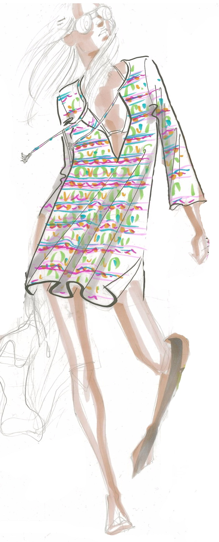 Lulu Tunic Sketch. Like the illustration, I'd rock this tunic with a pair of cool aviators too.
