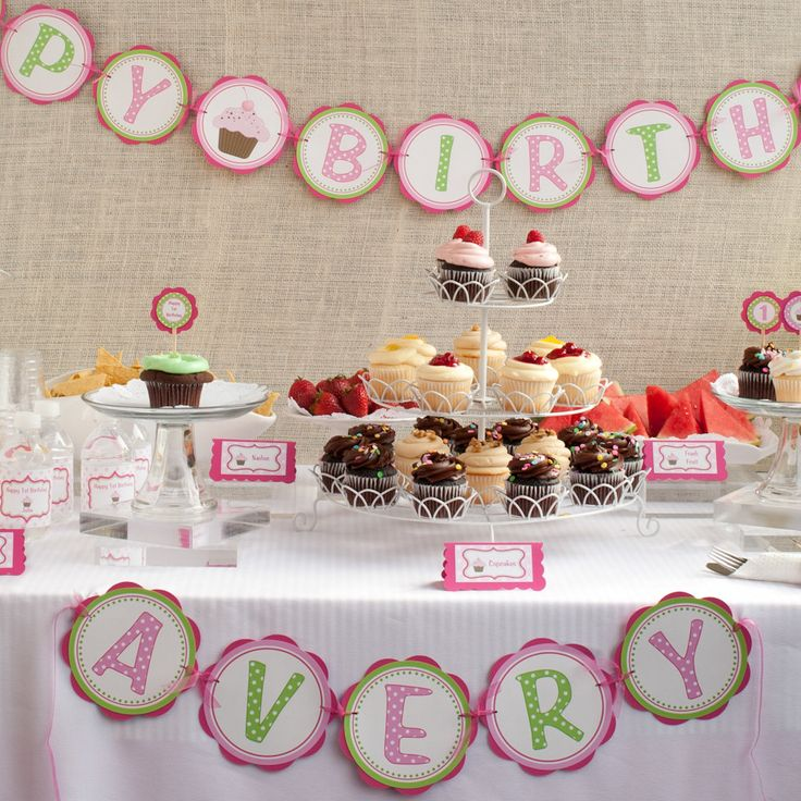 Cupcake Birthday Party - HAPPY BIRTHDAY Banner - Cupcake Birthday Party Sign - Cupcake Party Decorations in Hot Pink and Green. $25.50, via Etsy.