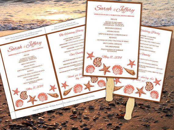 Seashells Beach Wedding Fan Microsoft Word Template