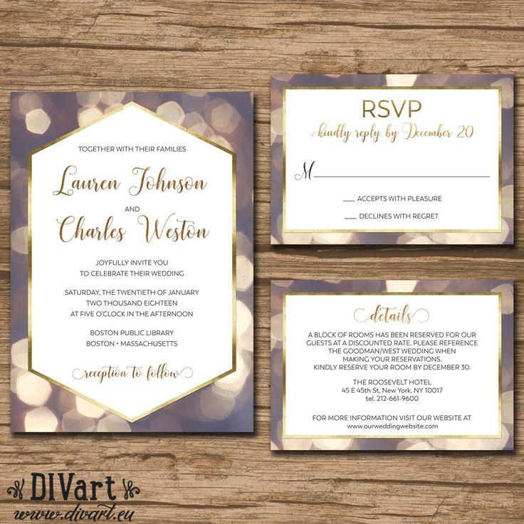 sunflower wedding invitations printable%0A Wedding Invitation Suite  Response Card  Details  Monogram  PRINTABLE  files  elegant  gold foil  geometric  modern  Lauren