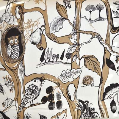 Squirrels Chase - Cinnamon woodland scene in brown Kids Fabric for Kids Curtains Bedding and Kids Curtain Kits UK