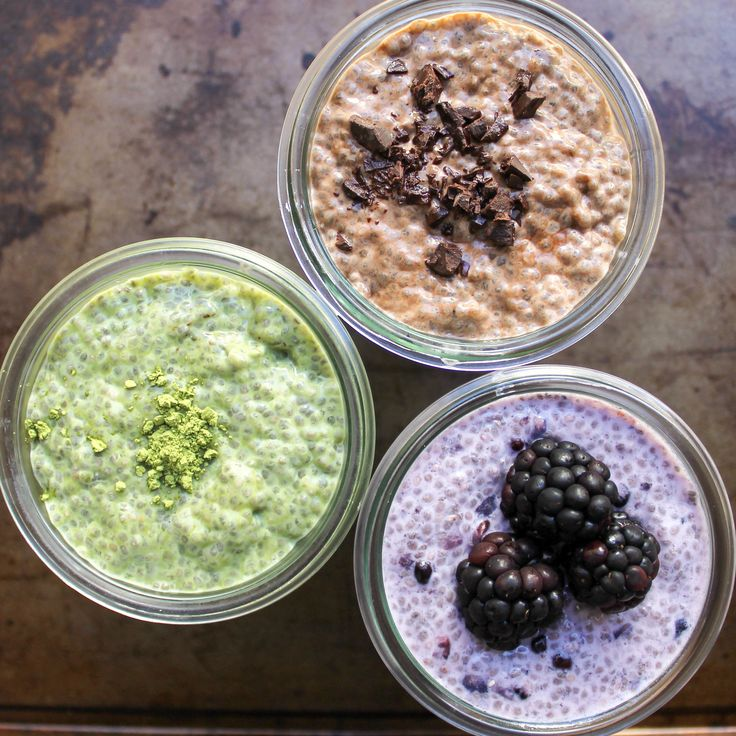 Chia Seed Pudding, Almond Milk, Chia seeds, matcha, maple syrup OR blackberries, OR cocoa powder