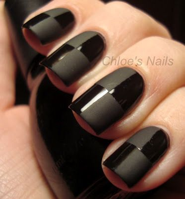 Awesome black on black matte/gloss nails. | See more at http://www.nailsss.com/acrylic-nails-ideas/3/