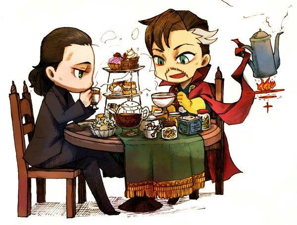 Loki & Dr  Strange // Tea time!!   Marvel   Marvel avengers, Marvel